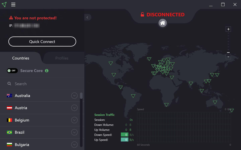 Carte des serveurs Proton VPN