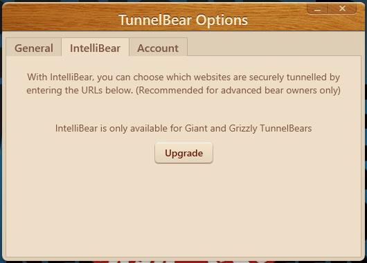 Les options sur TunnelBear VPN