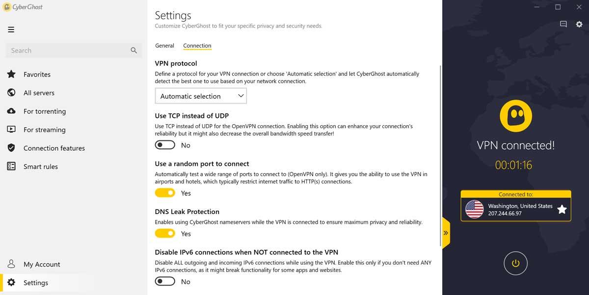 paramètres de connexion cyberghost