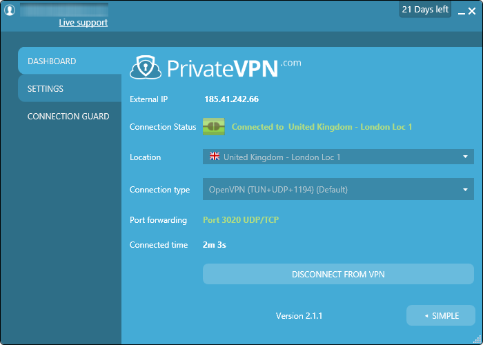 privatevpn interface avancée connectée